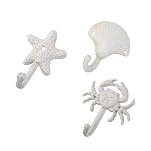 TOPBATHY 3pcs Decorative Hooks in Wrought Iron Single Wall Hook (Hook + Shed + Starfish)