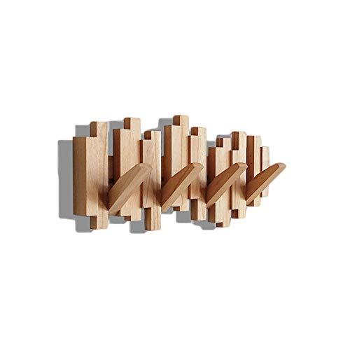 Perchero Puerta Madera, Perchero Pared, Montado en la Pared Puerta Porche Decoración de Gancho Multifuncional con Estante con 5 Ganchos Soporte de Exhibición Perchas Dormitorio