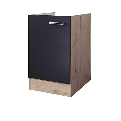MMR Küchen-Spülenunterschrank LONDON - ohne Arbeitsplatte - 1-türig - Breite 50 cm - Anthrazit