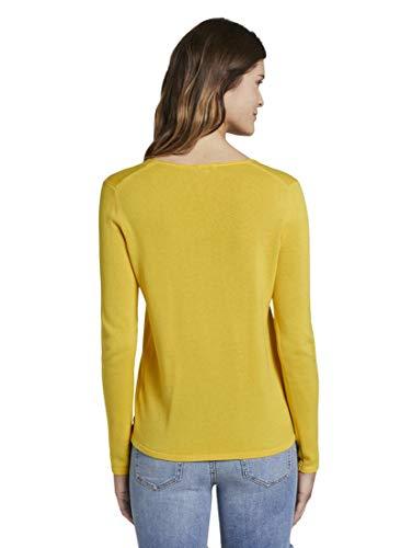 TOM TAILOR Damen Pullover & Strickjacken Pullover mit V-Ausschnitt Jasmine Yellow,M,21175,3000