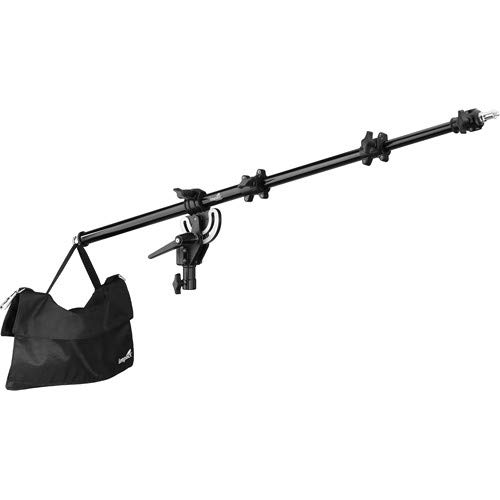 Impact Adjustable Mid-Range Tripod Boom Arm for Light Stand with 5 lb Capacity Sandbag and Extends to 60 Inches- Portable Light Stand Boom Arm Reflector Holder for Photography