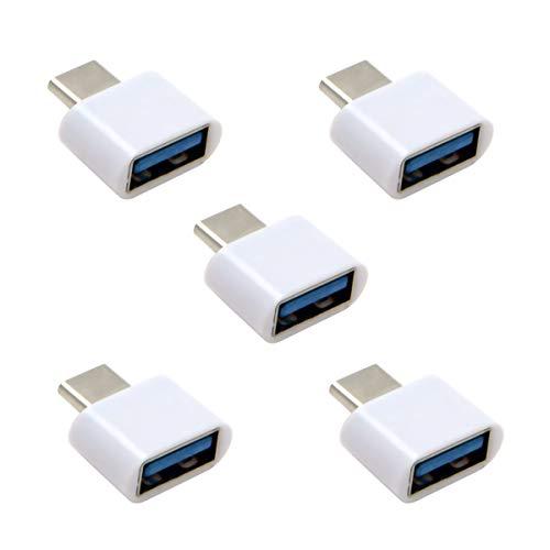 USB C auf USB 20 OTG Adapter fur Handy Tablet USB Kabel Flash Disk Maus und Laptop Weis 5 Stuck