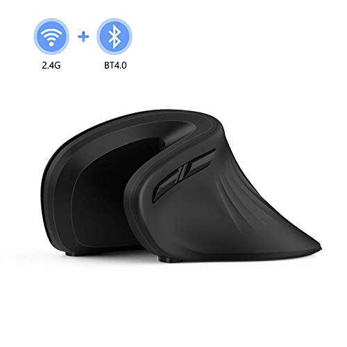 Jelly Comb Bluetooth + 2.4G Ergonomische Funkmaus, Dual-Modus Kabellose Vertikale USB Computermaus für PC, Laptop, MacBook, iPad, Android Tablet und Handy, Schwarz