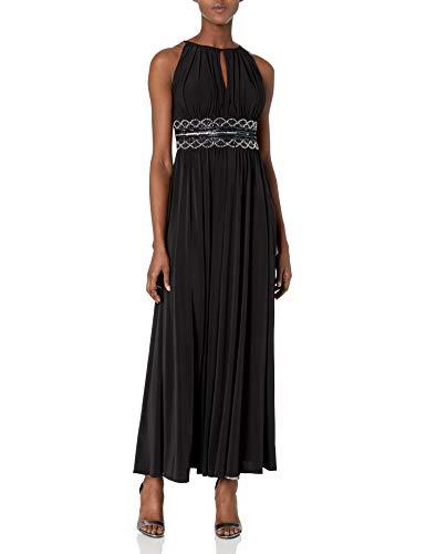 R&M Richards Women's Beaded Waist Gown, Black, 14