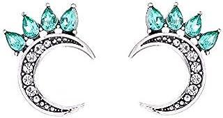 Moon Crystal Mosaic Stud Earrings For Women Boucles d'oreilles Statement Feminino Earring Brincos Femme