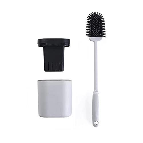 Cepillo De Silicona Para Inodoro,Herramientas De Limpieza Montadas En La Pared,Cabezal De Cepillo Flexible Para Limpiar La Esquina Del Inodoro FáCilmente (Color : Gray)