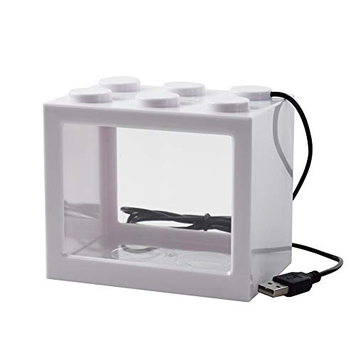 OMEM USB-Mini-Fischtank, Desktop-Mikro-Landschaft, LED-Fischtank, Aquarium-Kit, Bausteine, überlagerte Fischtank (weiß)