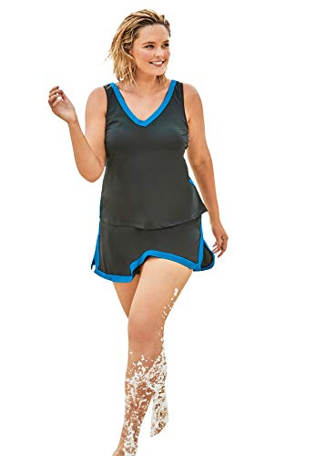 Swimsuits For All Women's Plus Size 2-Piece Swim Skirtini Set - 24, Black Blue Sea