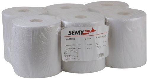 Semy Top Handtuchrolle Midi, Innenabwicklung 20 cm, 2 lagig, weißlich, 1er Pack (1 x 6 Stück)