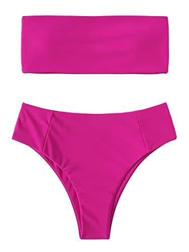SweatyRocks Women's Sexy Bandeau Bikini Set High Waist Solid Color Two Piece Bathing Set Hot Pink S