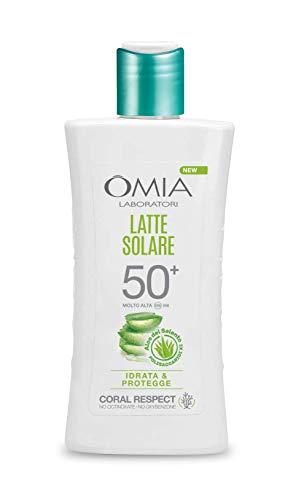 Omia - Latte Solare Protettivo SPF 50+ Aloe Vera del Salento, Protezione Solare Viso e Corpo, per Pelli Chiare e Sensibili, Dermatologicamente Testato, Flacone da 200 ml