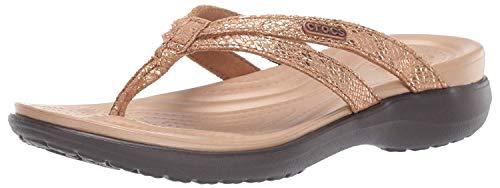 Crocs Women's Capri Strappy Flip Flop, bronze/espresso, 7 M US