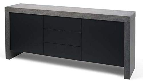 Kobe, Buffet résolument Moderne, d'une capacité de Rangement impressionnante. - Kobe Buffet 2 Portes, 3 tiroirs, 188 x 45 x 79 cm - Aspect béton Mat, Lisse au Toucher/Noir Pur
