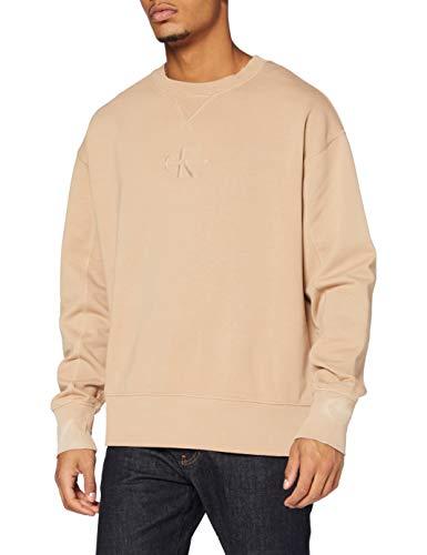 Calvin Klein Jeans Herren Acid Wash Crew Neck Pullover, Irish Cream, M