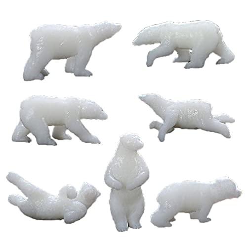 7 moldes de silicona mini de oso polar para rellenos de joyas de resina moldeada Art Crafts Mini forma de oso