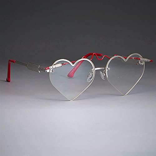 WQZYY&ASDCD Gafas de Sol Gafas De Sol con Forma De Corazón De Bala Roja para Mujer, Lindas Sombras Góticas Uv400, Gafas Vintage-C2_Silver_Clear