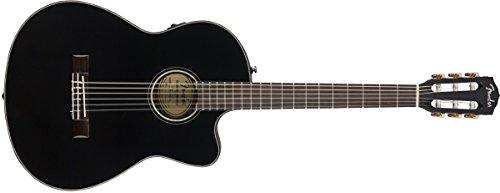 Fender CN-140SCE Elektro-Konzertgitarre aus Nylon, mit Hartschalenkoffer, Schwarz