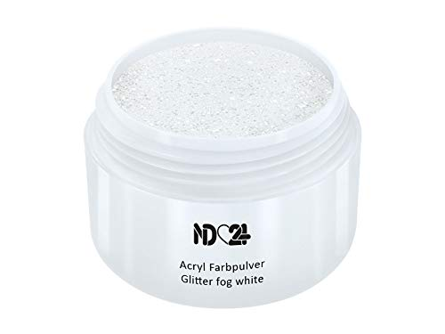 Acryl Farbpulver Glitter fog white WEIß - nd24 BESTSELLER - Feinstes FARB Acryl-Puder Acryl-Pulver...