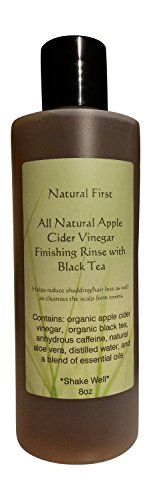 Natural First Organic Apple Cider Vinegar Finishing Rinse w/Black Tea for Shedding/Hair Loss (DHT Blocking) 8oz