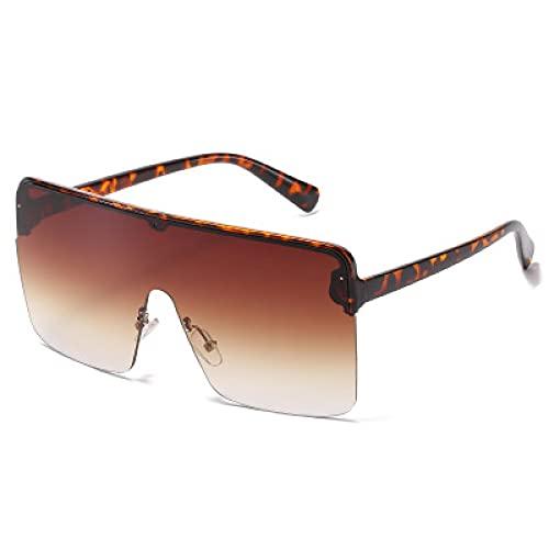 Secuos Moda Gafas De Sol De Gran Tamaño para Mujer Y Hombre, Máscara Grande De Una Pieza, Gafas De Sol A Prueba De Viento, Gafas De Sol Cuadradas Grandes De Moda Uv400 Leopardtea