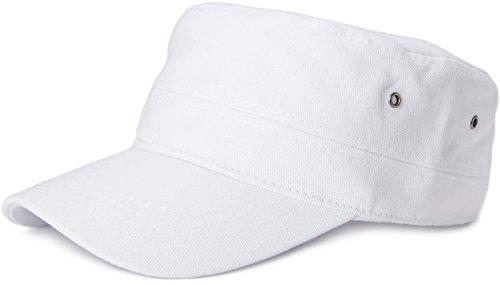 styleBREAKER Cap im Military-Stil aus robustem Baumwoll Canvas, verstellbar, Unisex 04023020, Farbe:Weiß