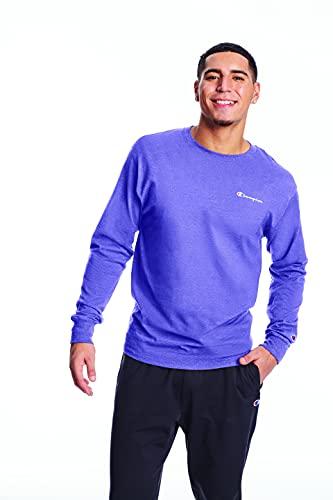 Champion Men's Classic Graphic Long Sleeve Tee, Iris Purple, XX- Large