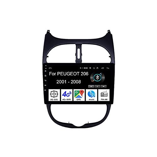 WJYCGFKJ Android Car Radio Video Reproductor Multimedia, Radio de Pantalla Táctil de 9 Pulgadas para Peugeot 206 2000-2016 Plug and Play Accesorios para Automóvil con Bluetooth y Navegación y Cámara