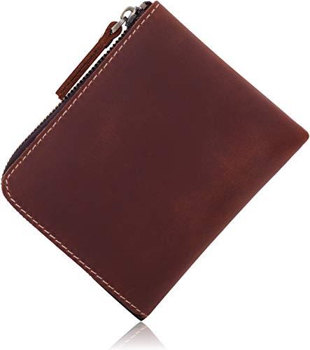 [Libra] 薄い 財布 クレイジーホースレザー コンパクト 小銭入れ (ブラウン)