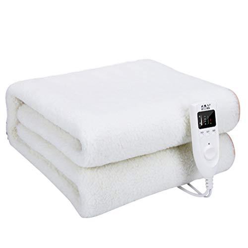 FAEIO Manta eléctrica 160 * 80cm Manta calefactora para Cama de Dormitorio de Estudiantes, Cama de 1 Metro, Ajuste de Temperatura Inteligente de 5 velocidades White