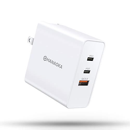 PD 充電器 65W 急速充電器( 新型GaN 窒化ガリウム採用) 2USB-C + 1USB-Aポート ACアダプター 【PSE認証済/Quick Charge3.0対応/折りたたみ式プラグ搭載】 iPhone/Android/MacBook/ノートパソコン/Switchなど対応