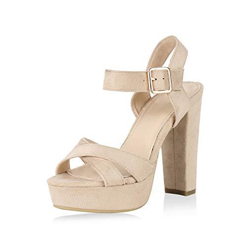 SCARPE VITA Damen Pumps Plateau Sandaletten High Heels Blockabsatz Party Schuhe 151189 Creme Creme Total 40