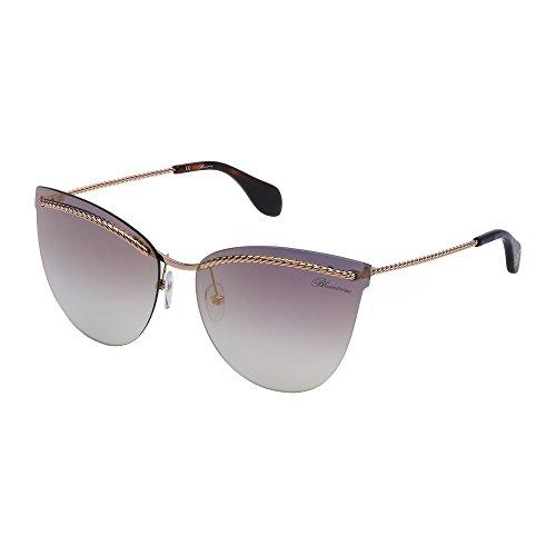 Gafas de sol Blumarine Glasant para mujer, oro rosado brillante, lentes azules, degradados, oro SBM106 0300 63-15-135