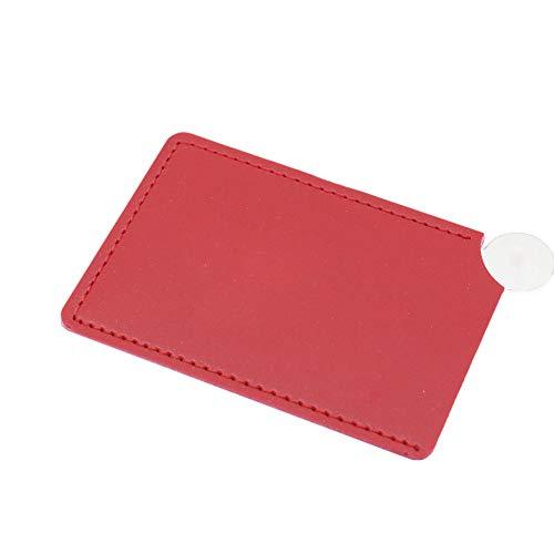 Clenp Miroir De Maquillage Portable - Miroir De Maquillage Cosmétique De Couleur Unie Incassable en Acier Inoxydable Incassable Rouge 8,5 cm x 5,3 cm