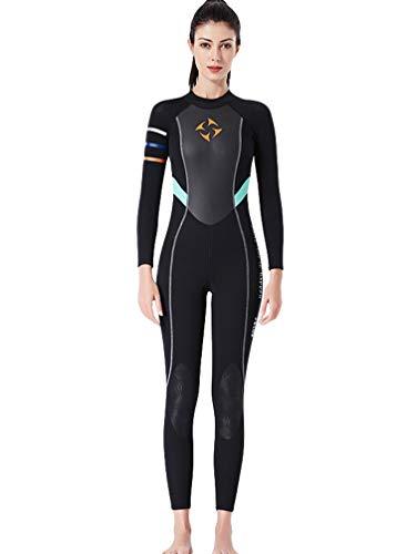 YuanDiann Femme 3mm Neoprene Combinaison De Plongée Stretch Épaissir Intégrale Chaud Tenue De Plongee sous Marine Une Pièce Surf Natation Triathlon Snorkeling Sport Nautique Vetement Noir M