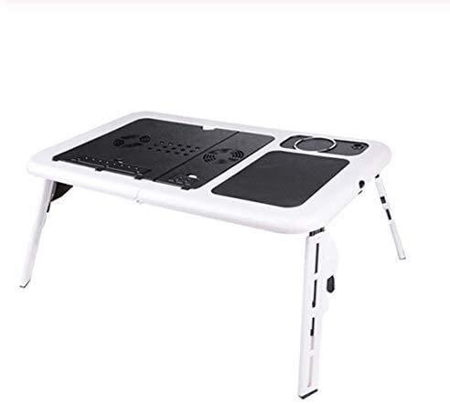 Syxfckc Equipo Ventilador de refrigeración y cómodo diseño ergonómico Plegable Escritorio del Ordenador portátil portátil de Mesa Bandeja de Doble Ventilador de pie de Cama