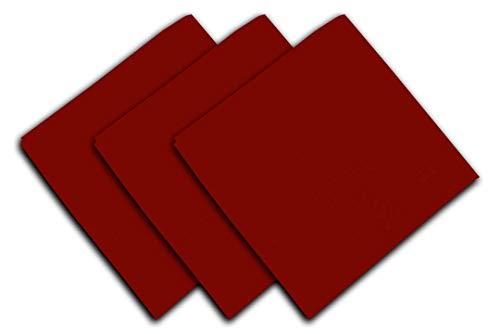 Soleil d'Ocre Lot de 3 Serviettes en Coton Panama Rouge, 45 x 45 cm