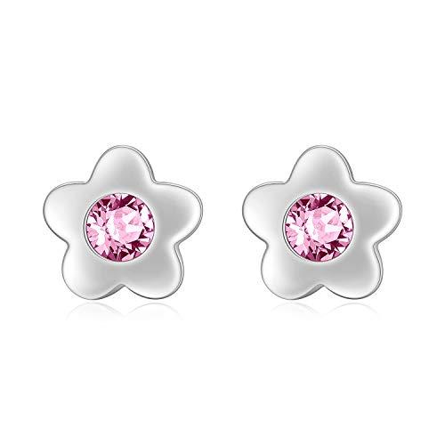 Blume Ohrringe Kinder Sterling Silber 925 Ohrstecker mit Rosa Kristallen, Geburtstagsgeschenk für Mädchen Frauen Tochter