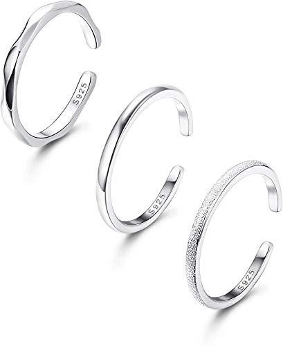 Adramata 3 szt. Srebro Sterling Regulowane pierścienie otwarte do układania w stosy pasek na kostkę mini palce zestaw dla kobiet dziewczyn uroczy palec moda biżuteria e srebro wysokiej próby, colore: Odcień srebrnego, cod. ADN-R-R0010-Silver