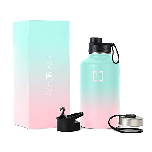 IRON °FLASK Sports Water Bottle, 3 Lids (Spout Lid), Vacuum Insulated Stainless Steel, Hot & Cold [Bubble Gum] [1890 ml]