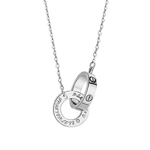 Collares de plata de ley 925, colgante de doble anillo, collar con colgante para mujer, aniversario, cumpleaños, día de la madre, joyería para mamá, esposa, novia