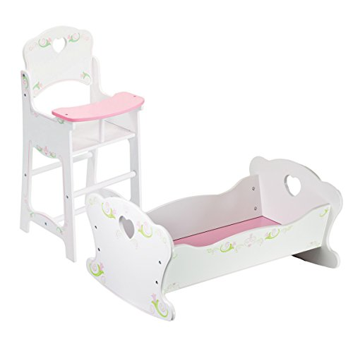 The Magic Toy Shop Dolls Wooden High Chair and Rocking Cradle Cot Bed Doll Furniture Set Matching Quilt & Pillow Dolls Bedding (Cradle & High Chair Set)