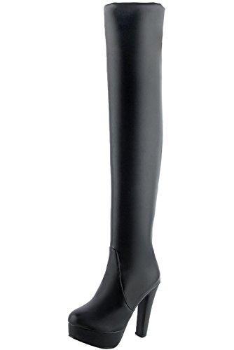 BIGTREE über Knie Stiefel High Heel Damen Herbst Winter Plateau PU Leder Casual Blockabsatz Overknee Stiefel von Schwarz PU 38 EU