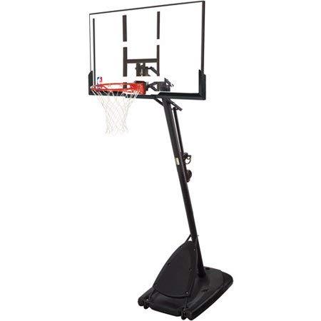 "Spalding NBA 54"" Portable Angled Basketball Hoop with Polycarbonate Backboard- Black"