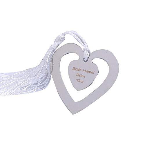 Lesezeichen mit Gravur Herz, Buchzeichen personalisiert mit Wunschgravur aus Metall