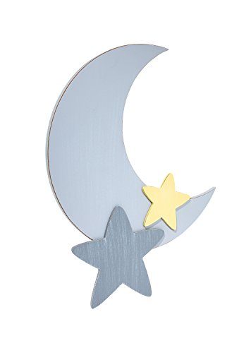 """Little Love by NoJo Separates Collection - 16"""" Weathered Grey Star and Moon Shaped Wall Art, Nursery, Bedroom or Playroom Décor"""