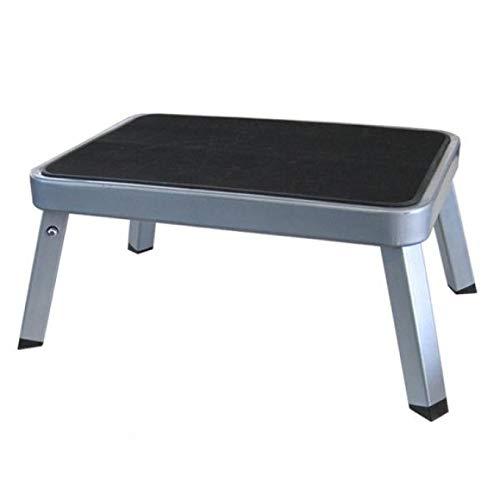 BERGER Einzeltritt Trittstufe klappbar aus Stahl, Silber, TÜV geprüft, rutschfest, bis 150 kg Belastbar