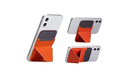 MOFT マグネットスマホスタンド MagSafe対応 iPhone 12シリーズ対応/iPhone 13シリーズ兼用 カードケース機能 フロートタイプ角度調節 薄型軽量 折り畳み式 複合材質 内蔵磁石(オレンジ)