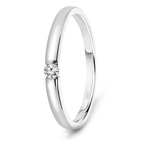 Miore Anillo solitario de compromiso en oro blanco 8 quilates 333/1000 con diamante natural talla brillante de 0,05 quilates