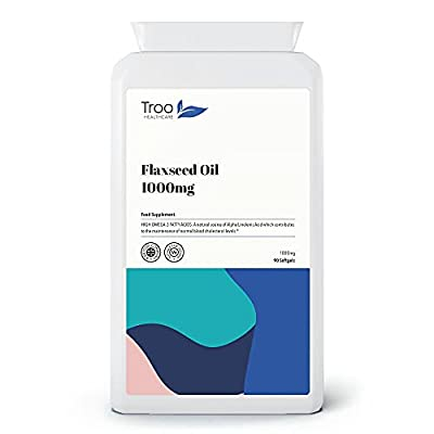 Flaxseed Oil Supplement 1000mg - 90 Easy Swallow Vegan Capsules | Potent Source of Omega 3 Fatty Acids Including Alpha Linolenic Acid for Blood Cholesterol Balance | UK Manufactured