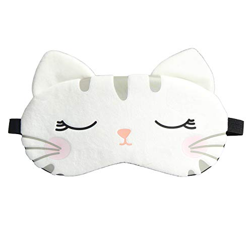 Cute Eye Mask for Sleeping,Cartoon Cat Super Soft and Lightweight Eye Cover Funny Eye Mask for Sleeping Women Men Kids